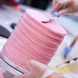 Pink Iced Swiss Meringue Buttercream Cake
