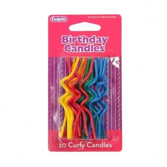 20 Primary Colour Curly Candles - Culpitt