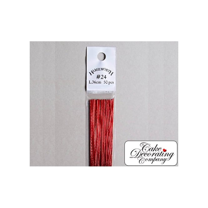 The Cake Decorating Co. 26 Gauge Metallic Dark Red Florist Wires
