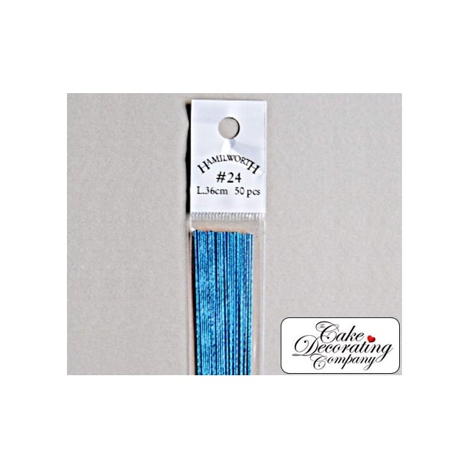 The Cake Decorating Co. 26 Gauge Metallic Light Blue Florist Wires