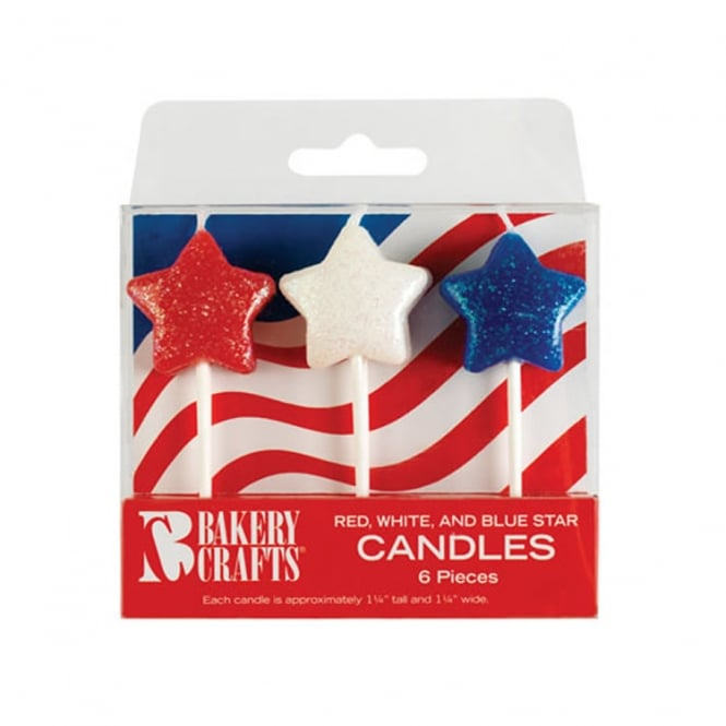 6 Star Candles, Red White Blue