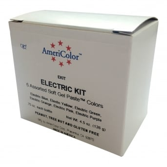 Electric Food Colour Kit Americolor .75 oz Gel - Craft Uses Only