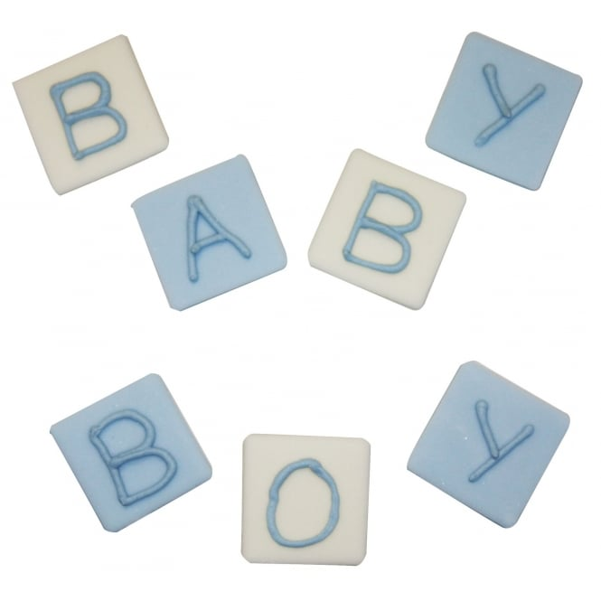 Anniversary House Baby Boy Block Sugar Toppers x 7