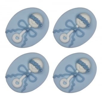 Baby Boy Rattle Sugar Toppers x 4