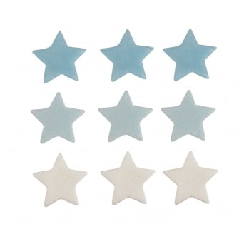 Blue And White Shimmer Star Sugar Toppers x 9