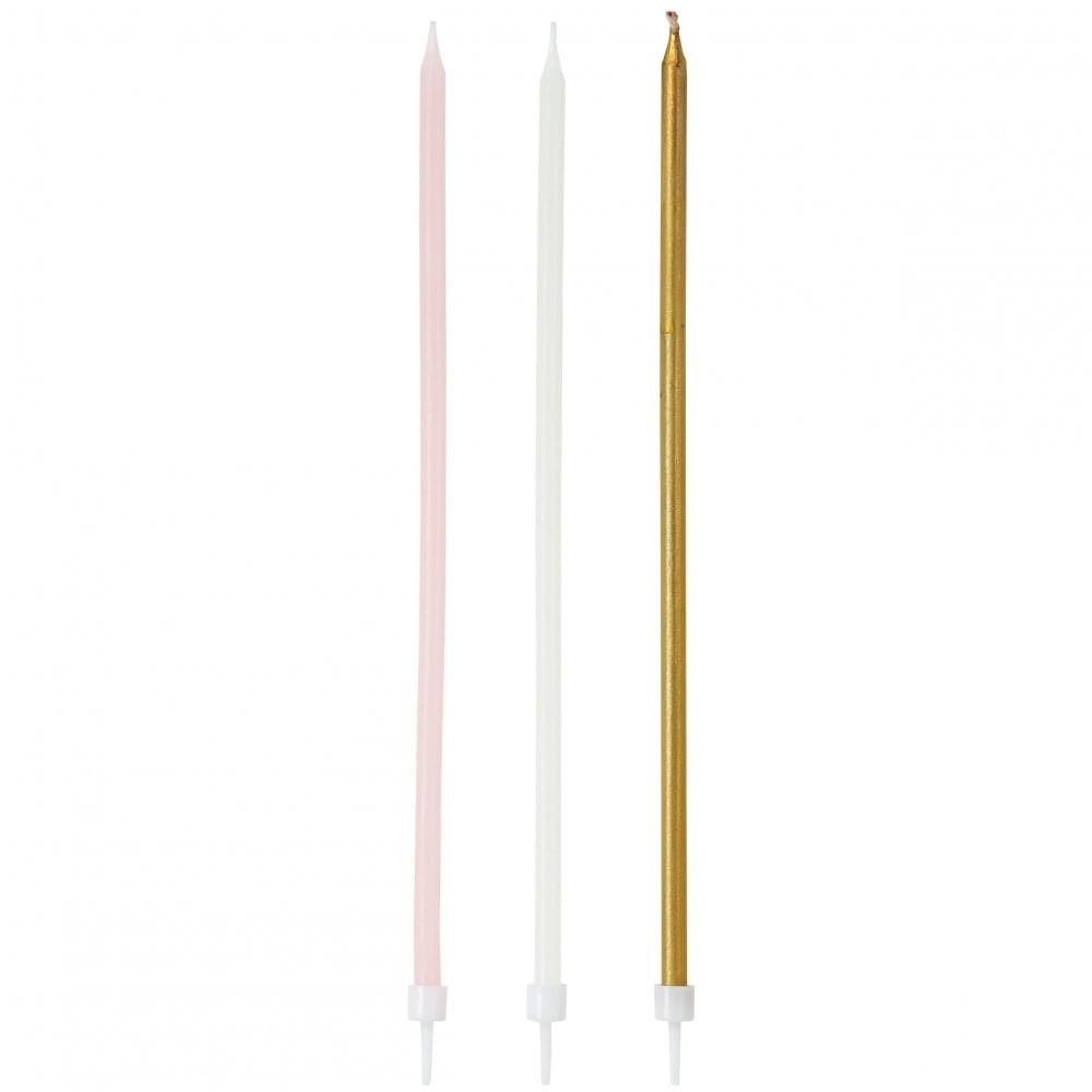 The Cake Decorating Co Extra Tall Metallic Candles X 16