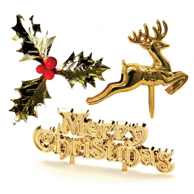 Anniversary House Glistening Gold Christmas Cake Topper Set Of 3