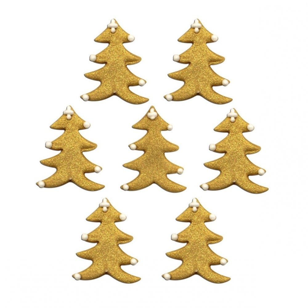 Glistening Gold Christmas Tree Sugar Toppers X 7