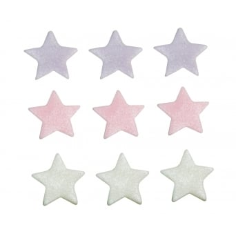 Lilac, Pink And White Shimmer Star Sugar Toppers x 9