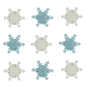 Mini White And Blue Shimmer Snowflakes Sugar Toppers x 9