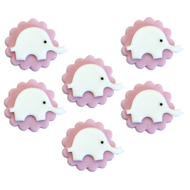 Anniversary House Pink Elephant Sugar Toppers x 6