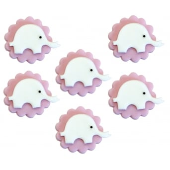 Pink Elephant Sugar Toppers x 6
