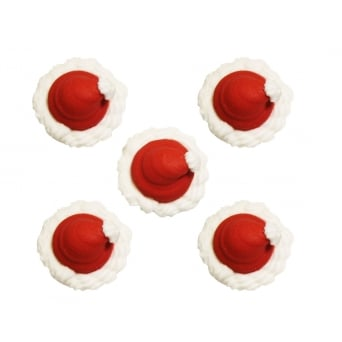 Santa Hat Sugar Toppers x 5