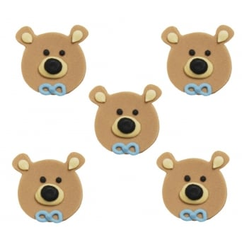 Teddy Bear Head Boy Sugar Toppers x 5