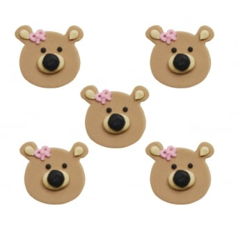 Teddy Bear Head Girl Sugar Toppers x 5