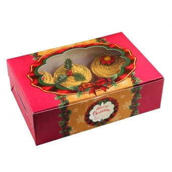 Traditional Christmas Cupcake Box Holds 6 Pack Of 2