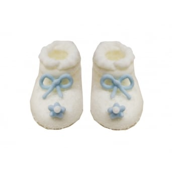 White And Blue Frosted Baby Boy Booties Sugar Toppers x 6