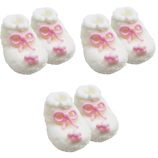 Anniversary House White And Pink Frosted Baby Girl Booties Edible Sugar Toppers x 6