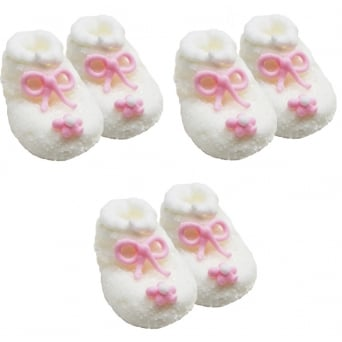White And Pink Frosted Baby Girl Booties Edible Sugar Toppers x 6