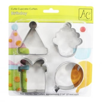 Birthday Cupcake And Cookie Cutters Set Of 4
