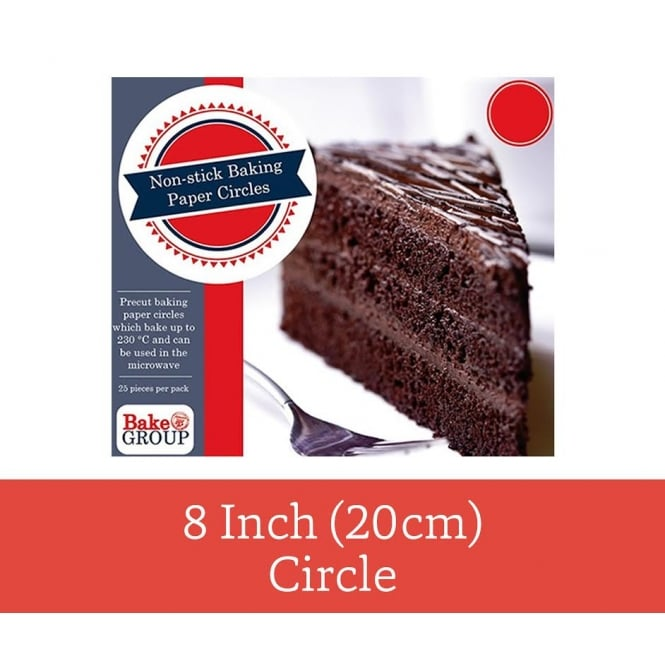 Bake Group Pack Of 25 - Pre Cut 8 inch 20cm Parchment Baking Paper Circle