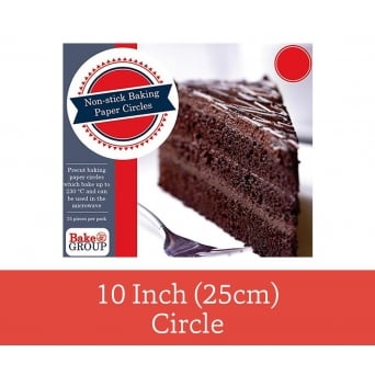 Pack Of 25 - Pre Cut 10 inch 25cm Parchment Baking Paper Circle