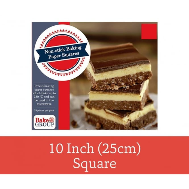 Bake Group Pack Of 25 - Pre Cut 10 inch 25cm Parchment Baking Paper Square