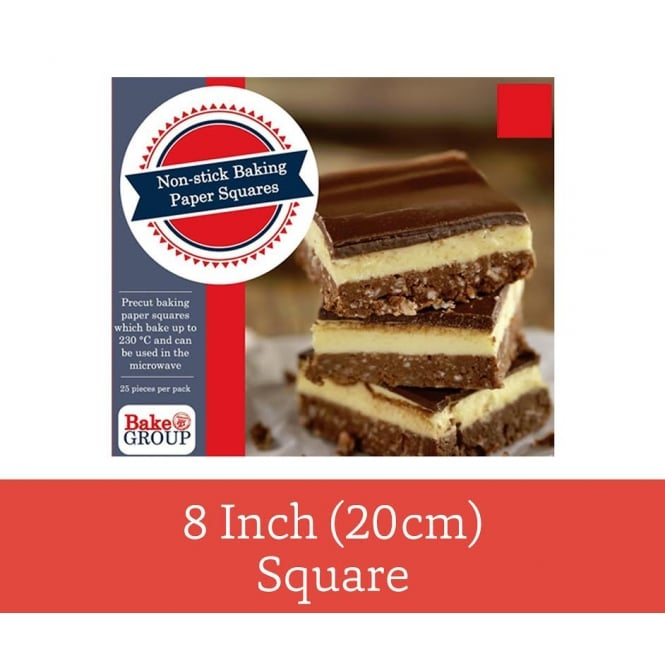 Bake Group Pack Of 25 - Pre Cut 8 inch 20cm Parchment Baking Paper Square