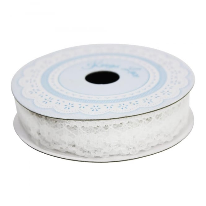Berisfords 14mm White Evelyn Lace Ribbon - 3 Metres