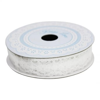 14mm White Evelyn Lace Ribbon - 3 Metres