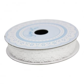 14mm White Jenny Lace Ribbon - 3 Metres