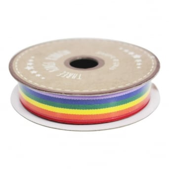 15mm Rainbow Stripe Grosgrain Ribbon - 3 Metres