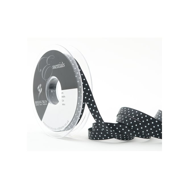 Berisfords Black Dotty Satin Ribbon 10mm x 20 Metres