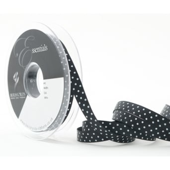 Black Dotty Satin Ribbon 10mm x 20 Metres