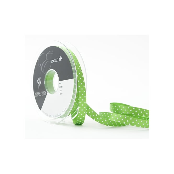 Berisfords Meadow Green Dotty Satin Ribbon 10mm x 20 Metres