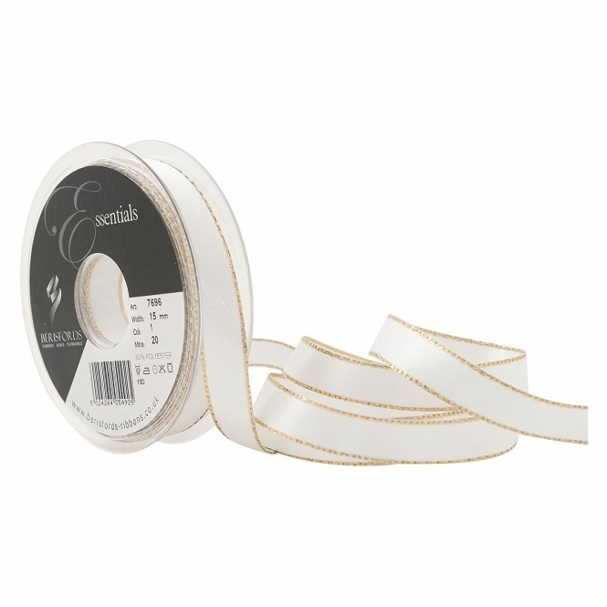 Berisfords White Silver Edge Satin Ribbon 15mm x 20 Metres