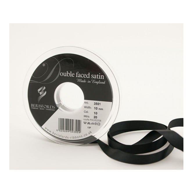 Berisfords Black Satin Ribbon 15mm x 20 Metres