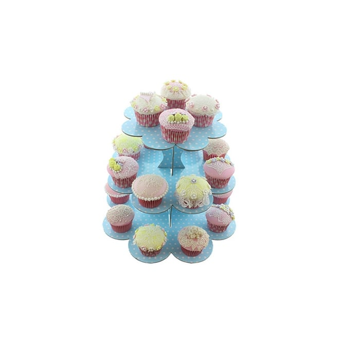 Cake Lace Blue With White Spots - Three Tier Cupcake Stand