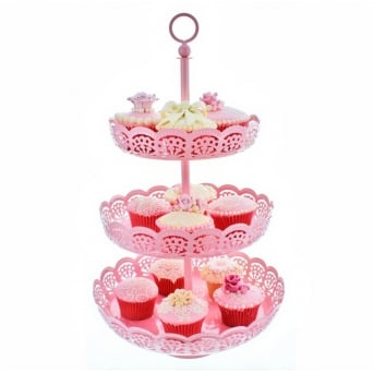 3 Tier Baby Pink - Metal Cupcake Display Stand