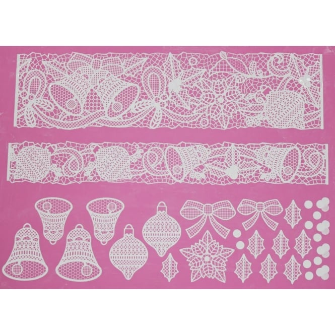 Cake Lace Bells And Bows - Large Lace Mat