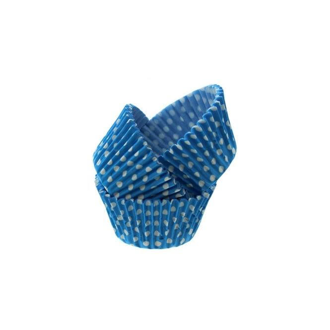 Cake Lace Blue Spotty - Baking Cases x 50 Cups