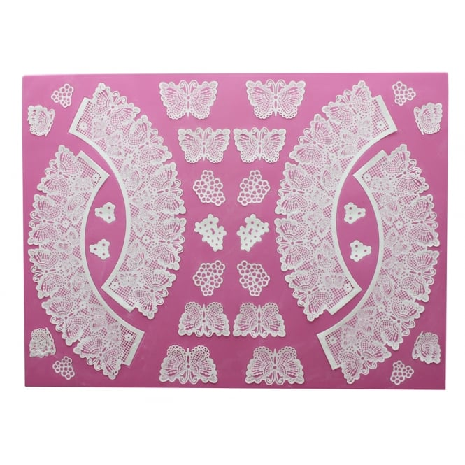 Cake Lace Butterflies - 3D Large Lace Cupcake Wrapper Mat