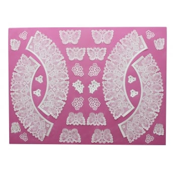 Butterflies - 3D Large Lace Cupcake Wrapper Mat