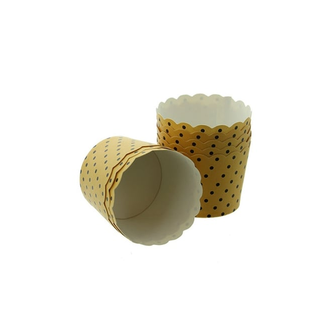 Cake Lace Gold With Black Spots - Scallop Baking Cases x 25 Cups