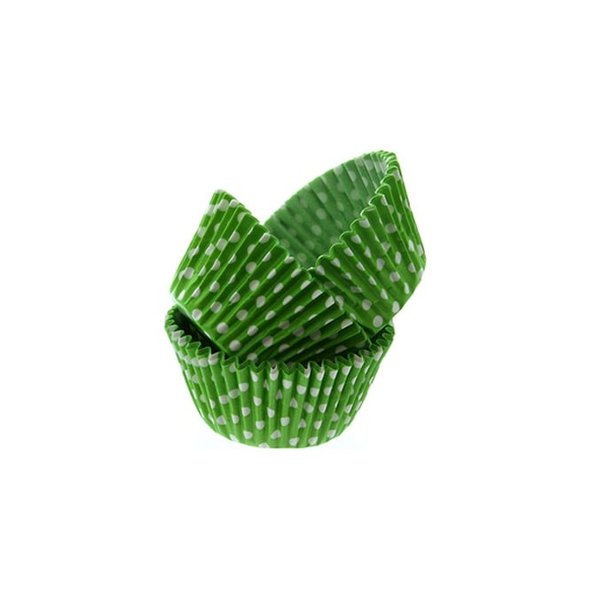 Cake Lace Green Spotty - Baking Cases x 50 Cups