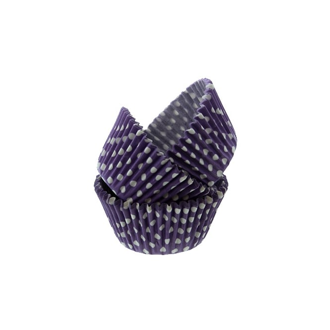 Cake Lace Purple Spotty - Baking Cases x 50 Cups