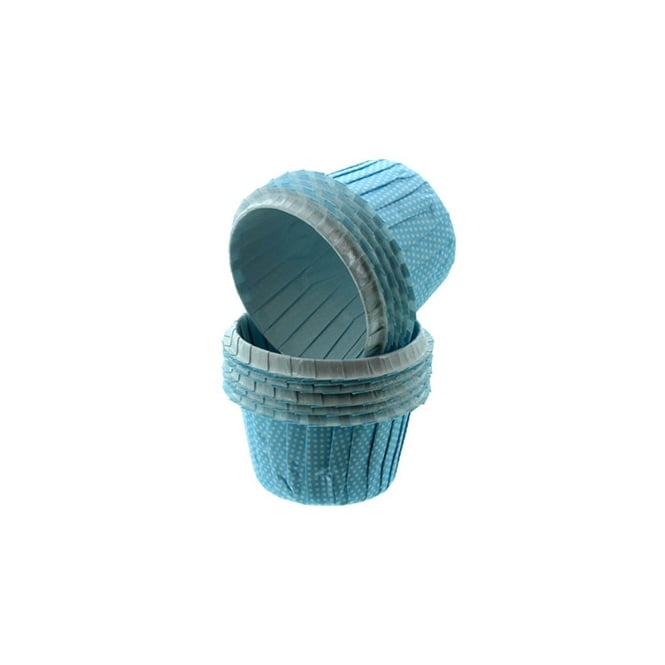 Cake Lace Sky Blue With White Spots - Greaseproof Baking Cases x 25 Cups