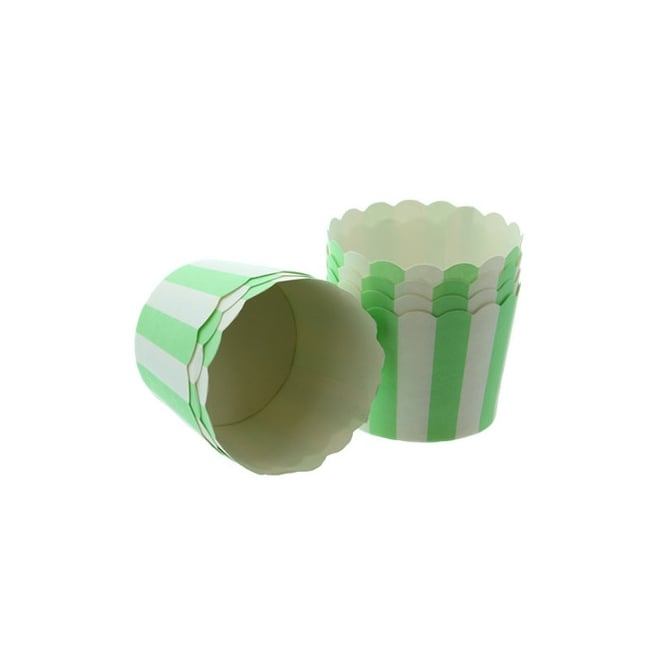 Cake Lace White With Apple Green Stripes - Scallop Baking Cases x 25 Cups