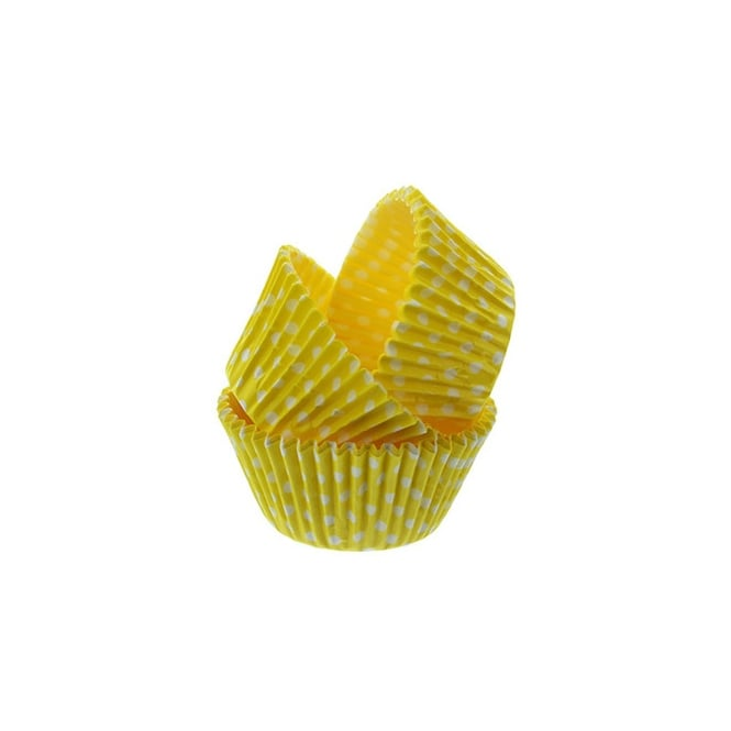 Cake Lace Yellow Spotty - Baking Cases x 50 Cups