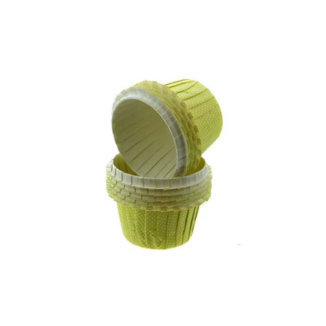 Cake Lace Yellow With White Spots - Greaseproof Baking Cases x 25 Cups
